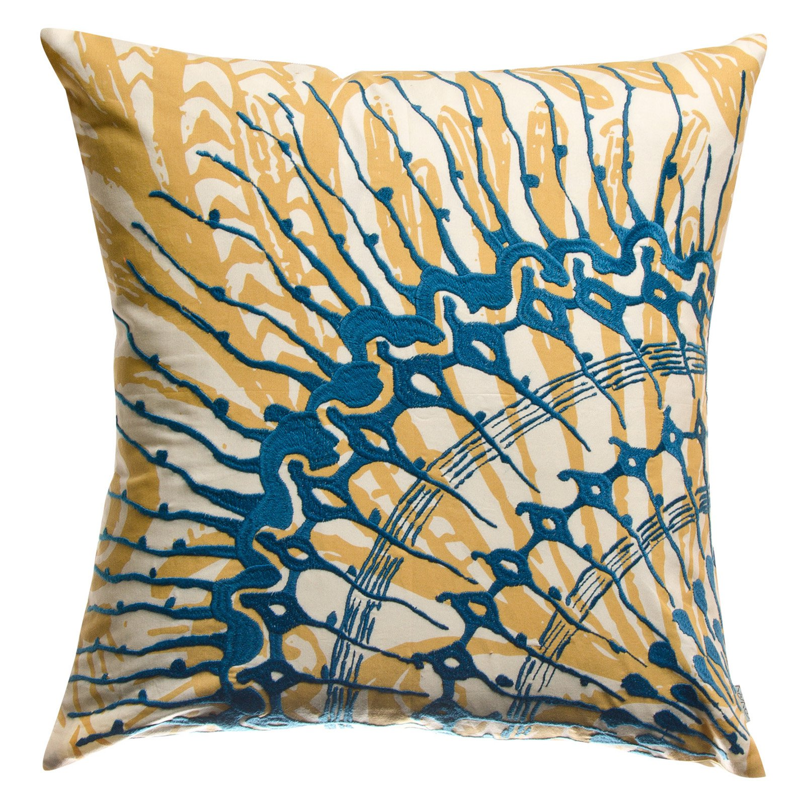 Koko Company 18 in. Water Square Pillow - Blue/Mustard