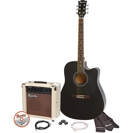 maestro by gibson mae41cbkch 41 full size single cutaway acoustic electric guitar kit black. Black Bedroom Furniture Sets. Home Design Ideas