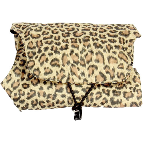 Four-N-fold Jewelry Organizer with Snap-Out Drawstring Caddy. Leopard Print