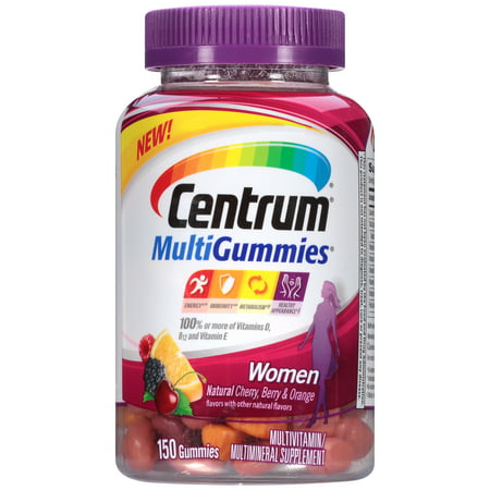 Centrum MultiGummies Women (150 Count, Natural Cherry, Berry, Orange Flavor) Multivitamin/Multimineral Supplement Gummies