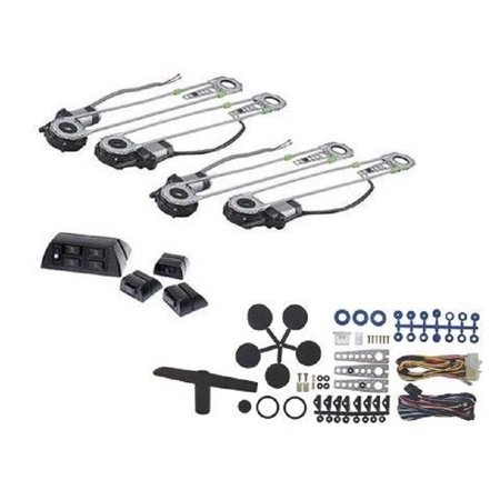 Electric 4 Power Motor Window Roll Up + 4 Door Lock Conversion Kit For Car