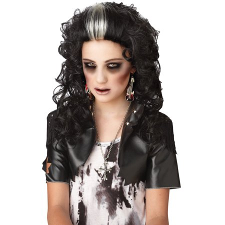 Black White Rocked Out Zombie Wig Adult Halloween Accessory