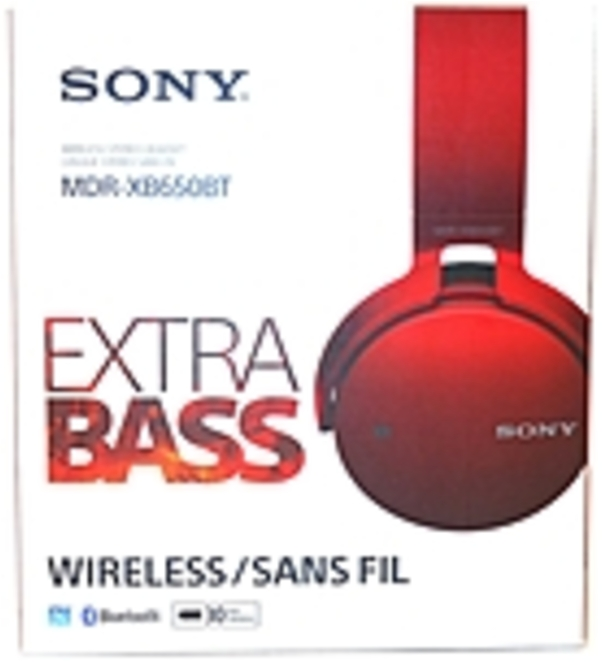 Refurbished Sony XB650BT Extra Bass Bluetooth Headphones - Stereo - Red - Wireless - Bluetooth - 24 Ohm - 20 Hz - 20 kHz - Over-the-head - Binaural - Circumaural