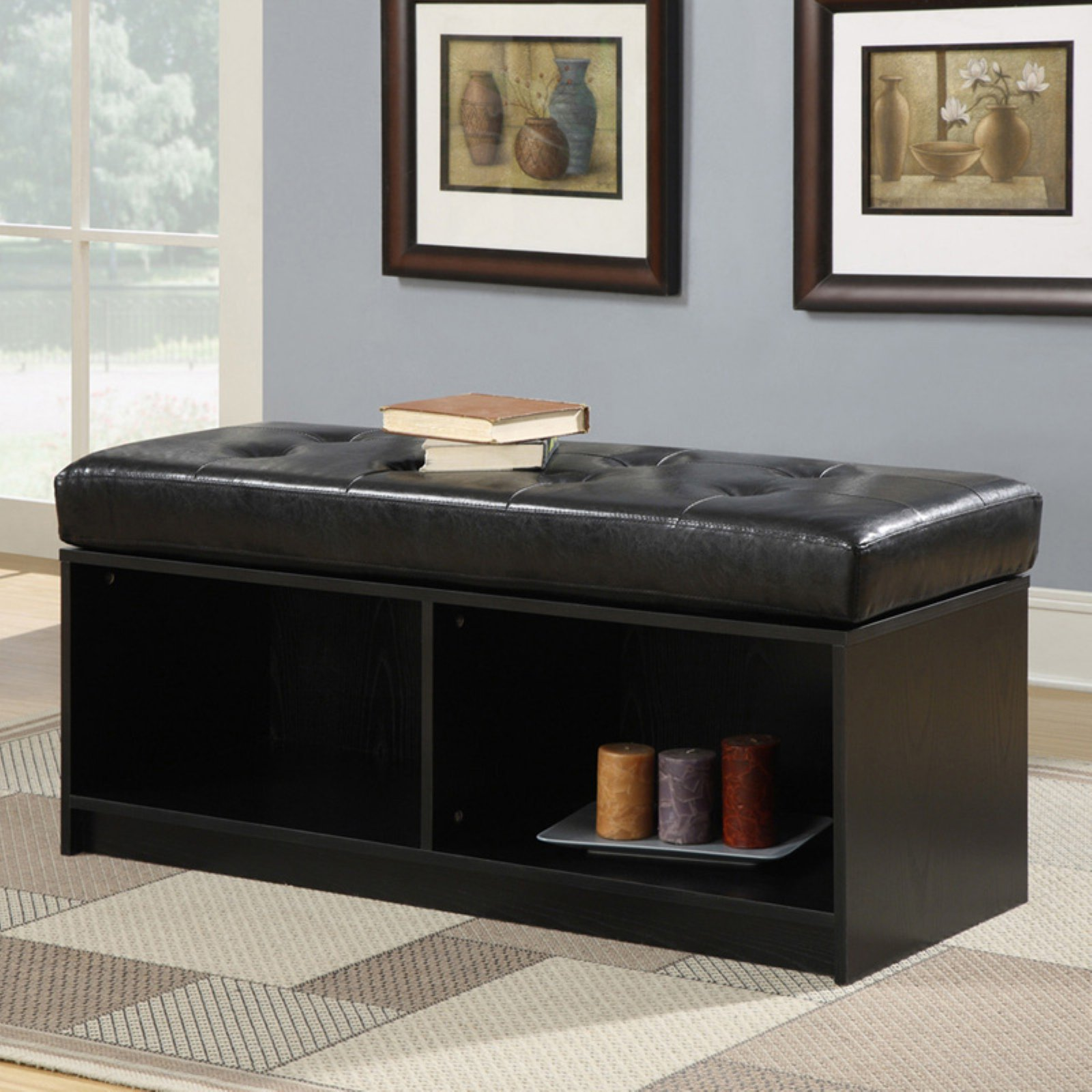 Convenience Concepts Designs4Comfort Broadmoor Entryway Faux Leather Bench Storage Ottoman, Multiple Colors by Convenience Concepts
