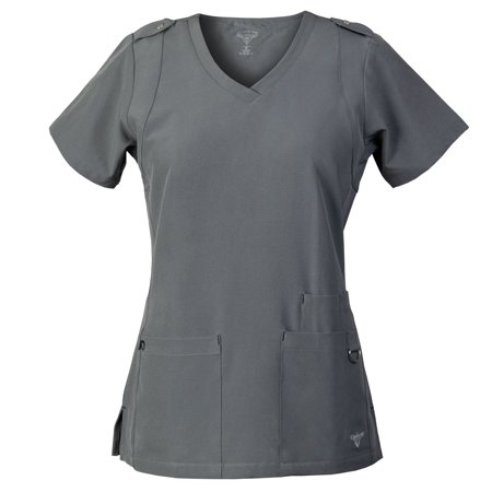 MG SuperFlex Scrubs Top with Shoulder Tab Detail in Dobby 4-way Stretch Fabric ()