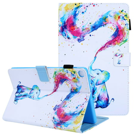 Galaxy Tab A 10.1 2019 Case T510 T515, Allytech Slim Fit Multi Angle Stand Folio Full Protection Shockproof Anti-Scratch Wallet Shell Case Cover for Samsung Galaxy Tab A 10.1, Colorful Elephant