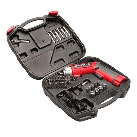 Great Working Tools Cordless Screwdriver Set - 45-Piece Power Screwdriver with 3.6v Lithium-Ion Battery, Pivoting Head, Flashlight and Case for Home Repair Projects ()