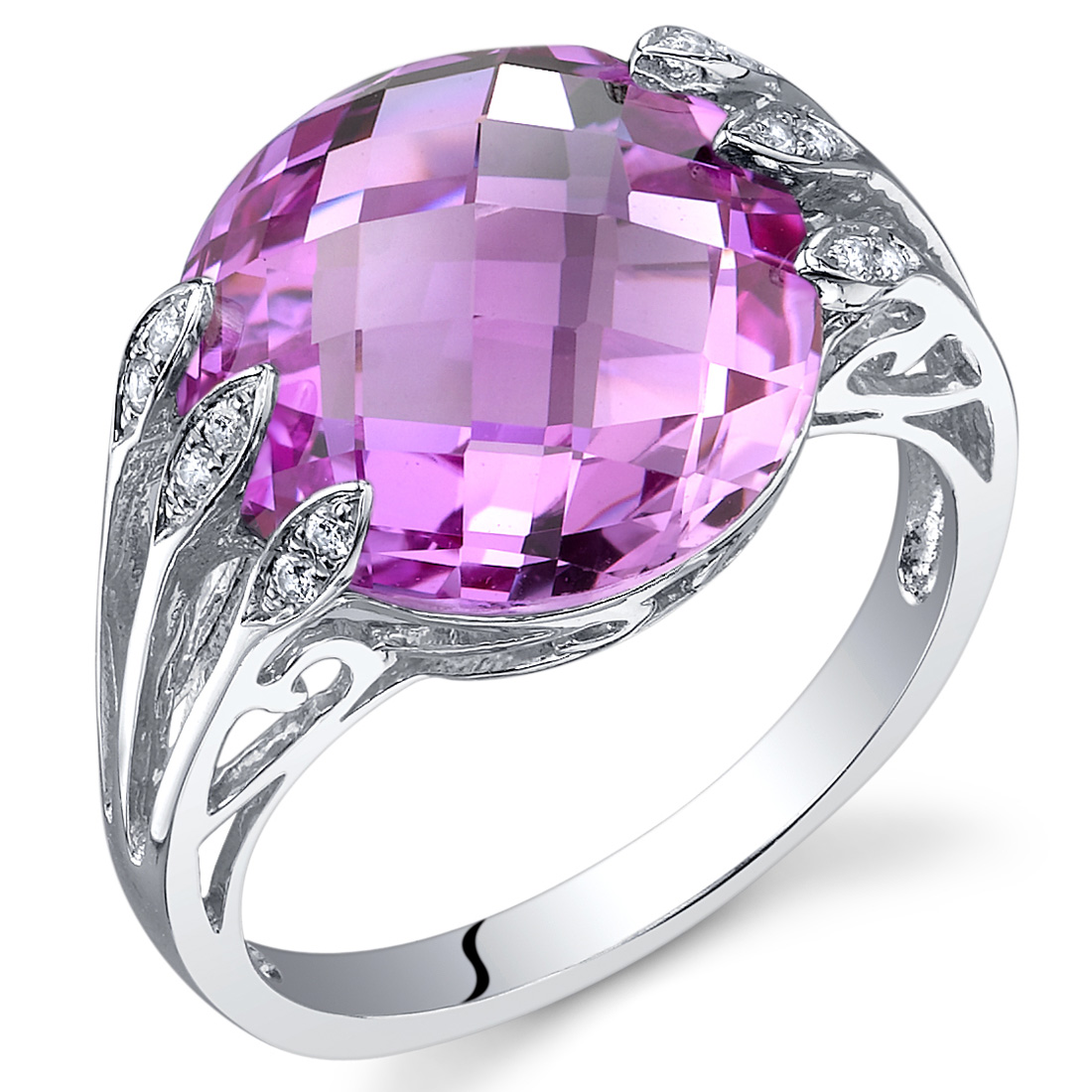 Peora 7.00 Ct Created Pink Sapphire Engagement Ring in Rhodium ...