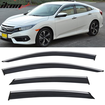 Polycarbonate Trim - Fits 16-18 Honda Civic Sedan Polycarbonate Window Visors w/ Chrome Trim 4Pc Set