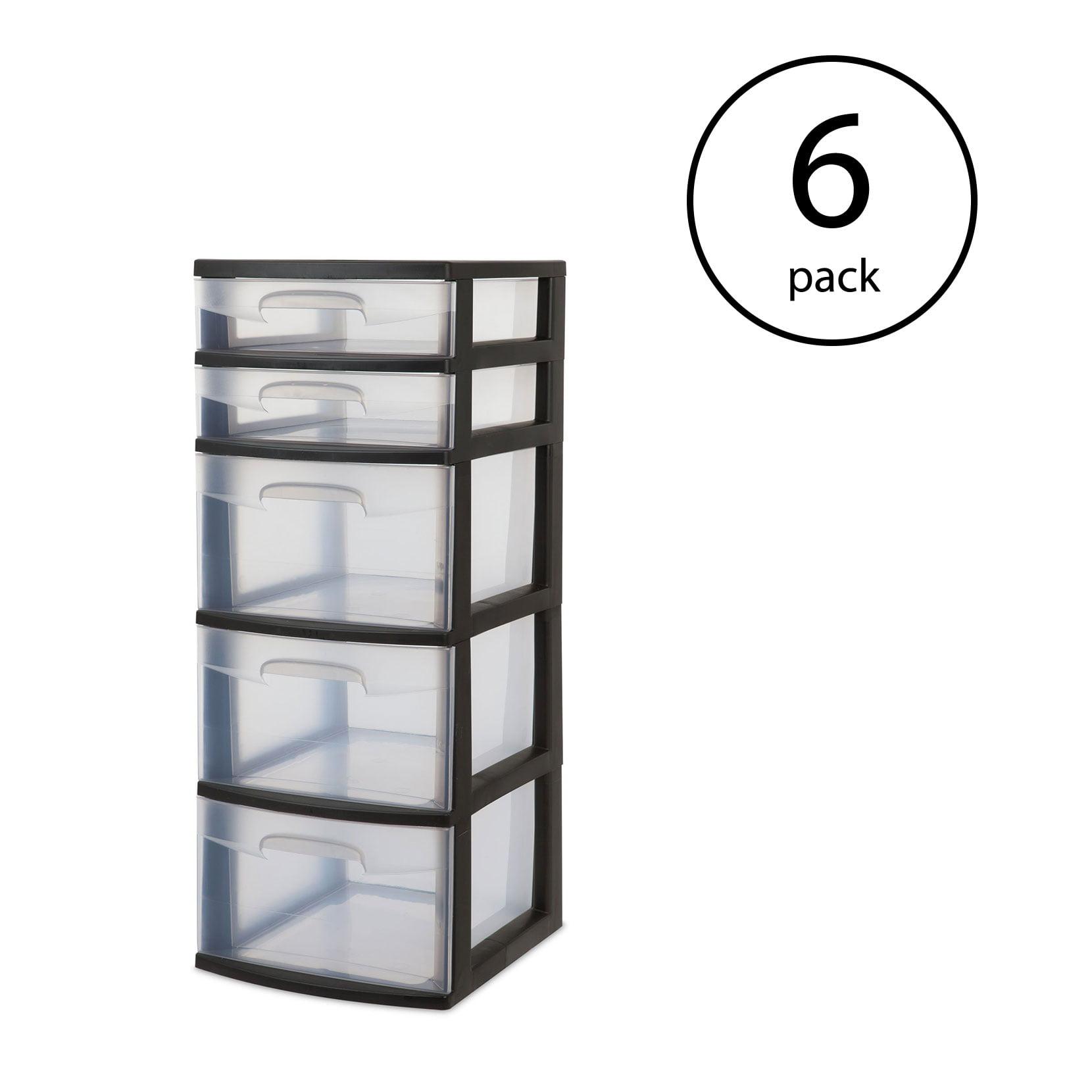Sterilite 5 Drawer Tower Plastic Space Saving Home Storage Organizer (6 Pack) by Sterilite