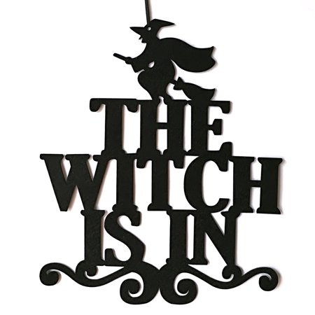 Indoor and Outdoor Halloween Party The Witch Is In Hanging Door Decoration and Wall Sign Trick or Treat ()