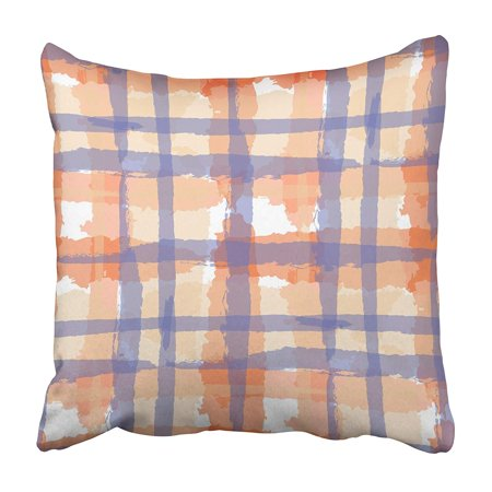 ARHOME Watercolor Plaid with Hand Crossing Stripes for Linen Sportswear Rustic Check Kilt Pillowcase 20x20 inch