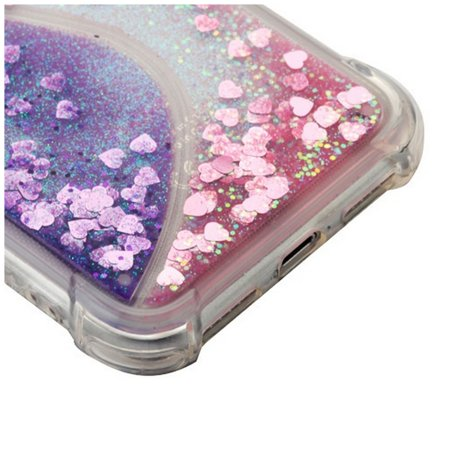 Apple iPhone X Case, by Insten Quicksand Glitter Hard Plastic/Soft TPU Rubber Clear Case Cover For Apple iPhone X, Purple/Pink - image 1 of 5