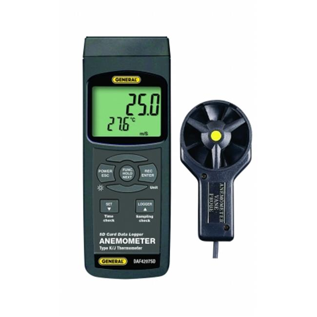 General Tools & Instruments DAF4207SD Anemometer-Thermometer With Excel-Formatted Data Logging Sd Card
