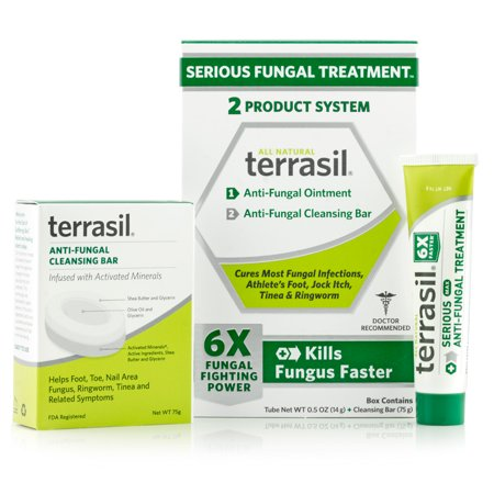 Terrasil® Antifungal Treatment 2-Product Anti-Fungal Ointment and Cleansing Bar System with All-Natural Activated Minerals® 6X Fungus Fighting Power (14gm tube and 75gm