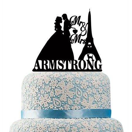 Buythrow Wedding Cake Topper Custom Silhouette Mr Mrs Last Name Cake ...