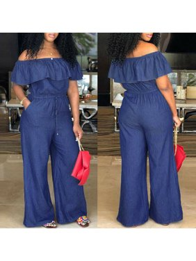 New Women Ladies Clubwear Summer Playsuit Bodycon Denim Jumpsuit Romper Trousers