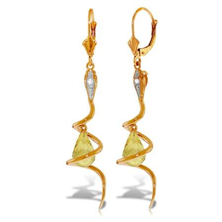 Citrine Briolette Earrings (ALARRI 14K Solid Rose Gold Snake Earrings w/ Dangling Briolette Citrines & Diamonds.)