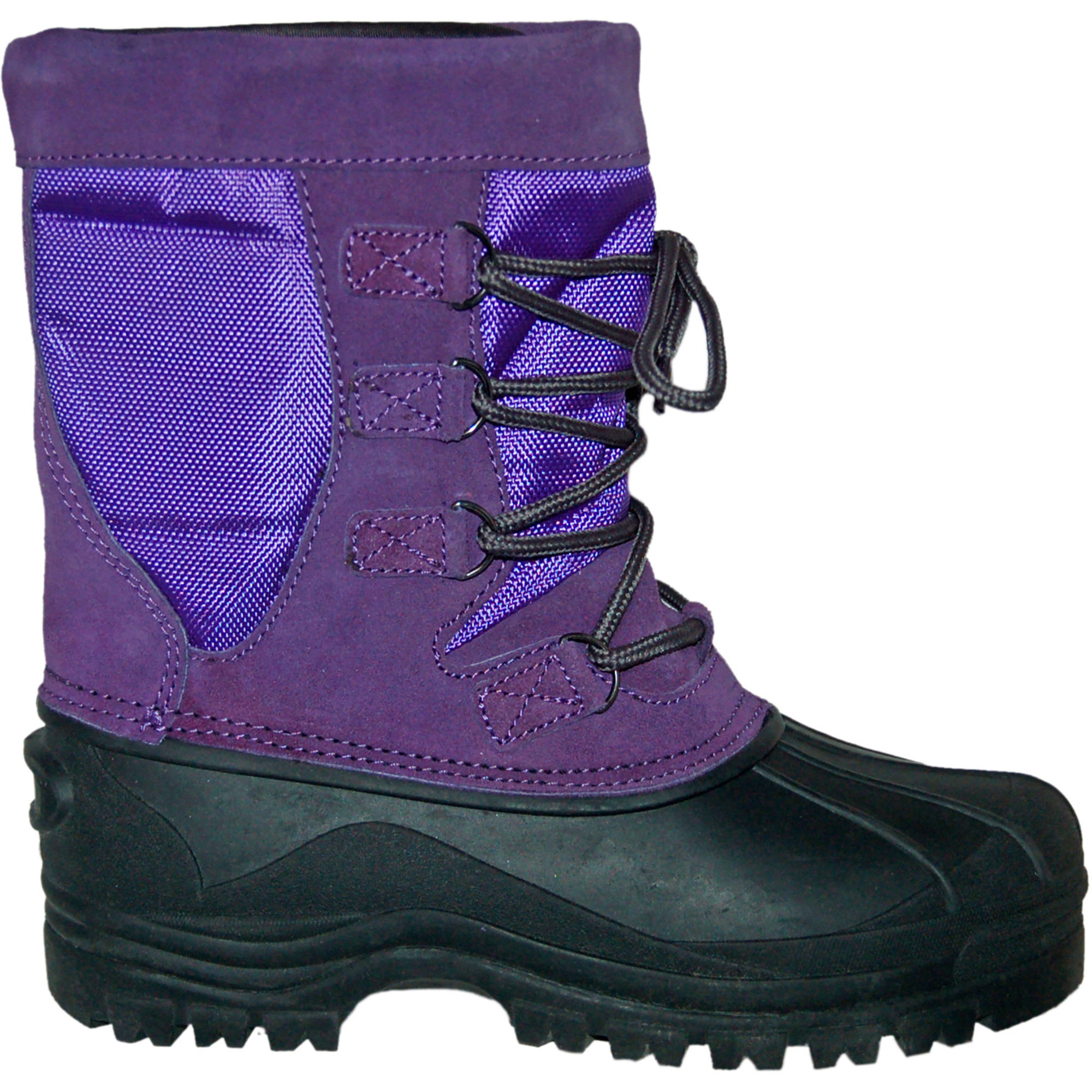 BERRY Girls Purple Lace Up Warm Winter Snow Boots