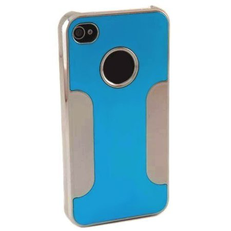 Importer520 Chrome Aluminum Skin Hard Back Case Cover For Verizon At Sprint Apple Iphone 4 4G 4S Blue   Silver
