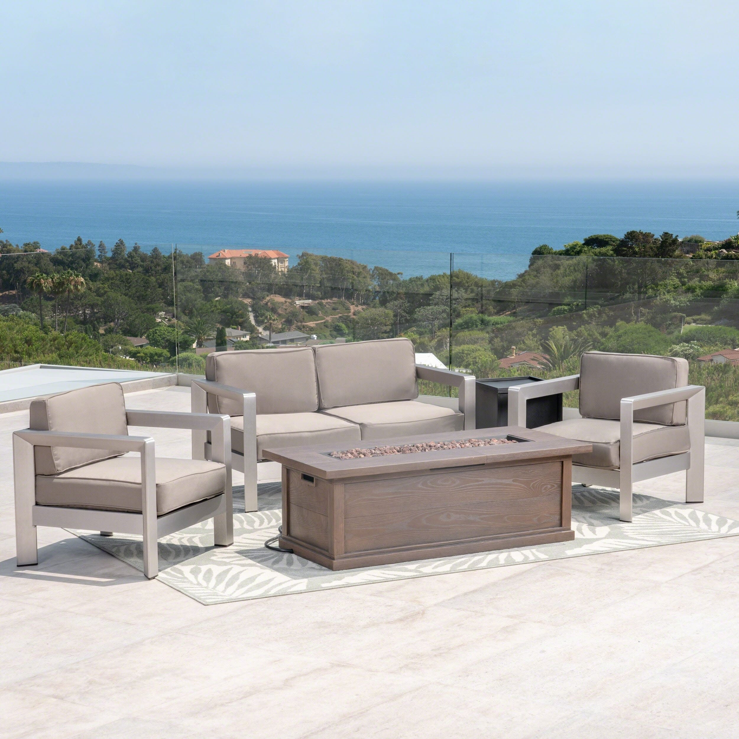 Christopher Knight Home Albion Outdoor 4-Seater Aluminum Chat Set with Fire Pit and Tank Holder by