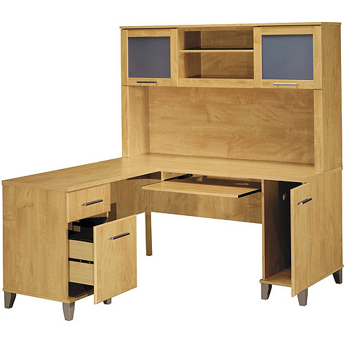 "Bush Somerset 60"" L-Shaped Desk with Hutch, Maple Cross"