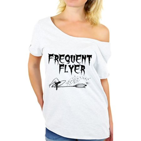 Awkward Styles Frequent Flyer Off Shoulder Shirt Funny Halloween Off The Shoulder Shirt for Women Halloween Witch Oversized Tshirt Dia de los Muertos Baggy T Shirt Day of the Dead Gifts for Her for $<!---->