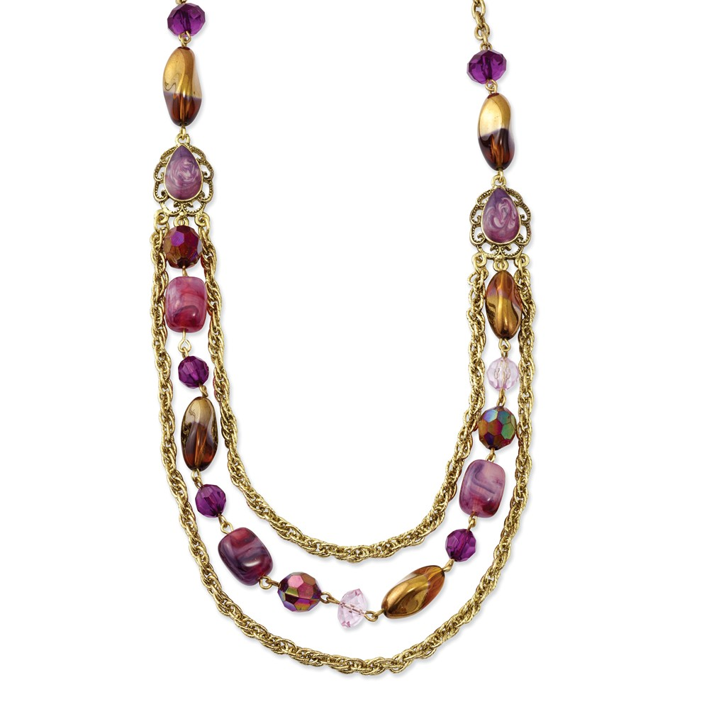 Brass-tone Purple Crystal Multistrand 18in Necklace