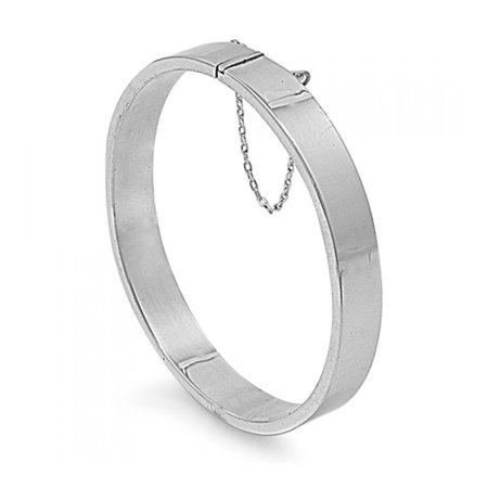 925 Sterling Silver 9x60x65 MM oval Shape Rectangle Tube Bangle Bracelet Sterling Silver Tube Style Bracelet