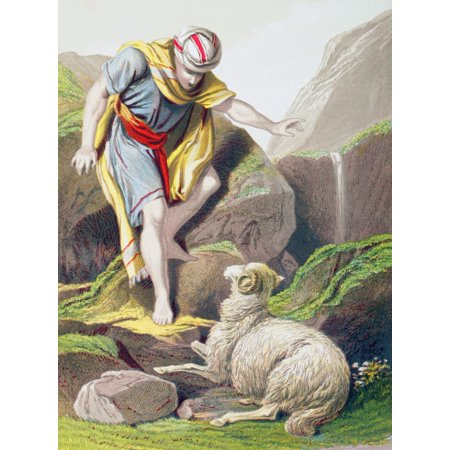 The Parable Of The Lost Sheep From The Holy Bible Published By William Collins Sons & Company In 1869 Chromolithograph By JM Kronheim & Co Canvas Art - Ken Welsh  Design Pics (12 x 17) - Parable Of Lost Sheep