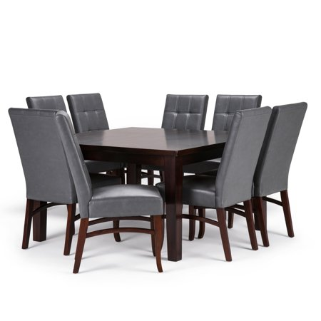 Brooklyn + Max Kentville Contemporary 9 Pc Dining Set with 8 Upholstered Dining Chairs in Stone Grey Faux Leather and 54 inch Wide Table