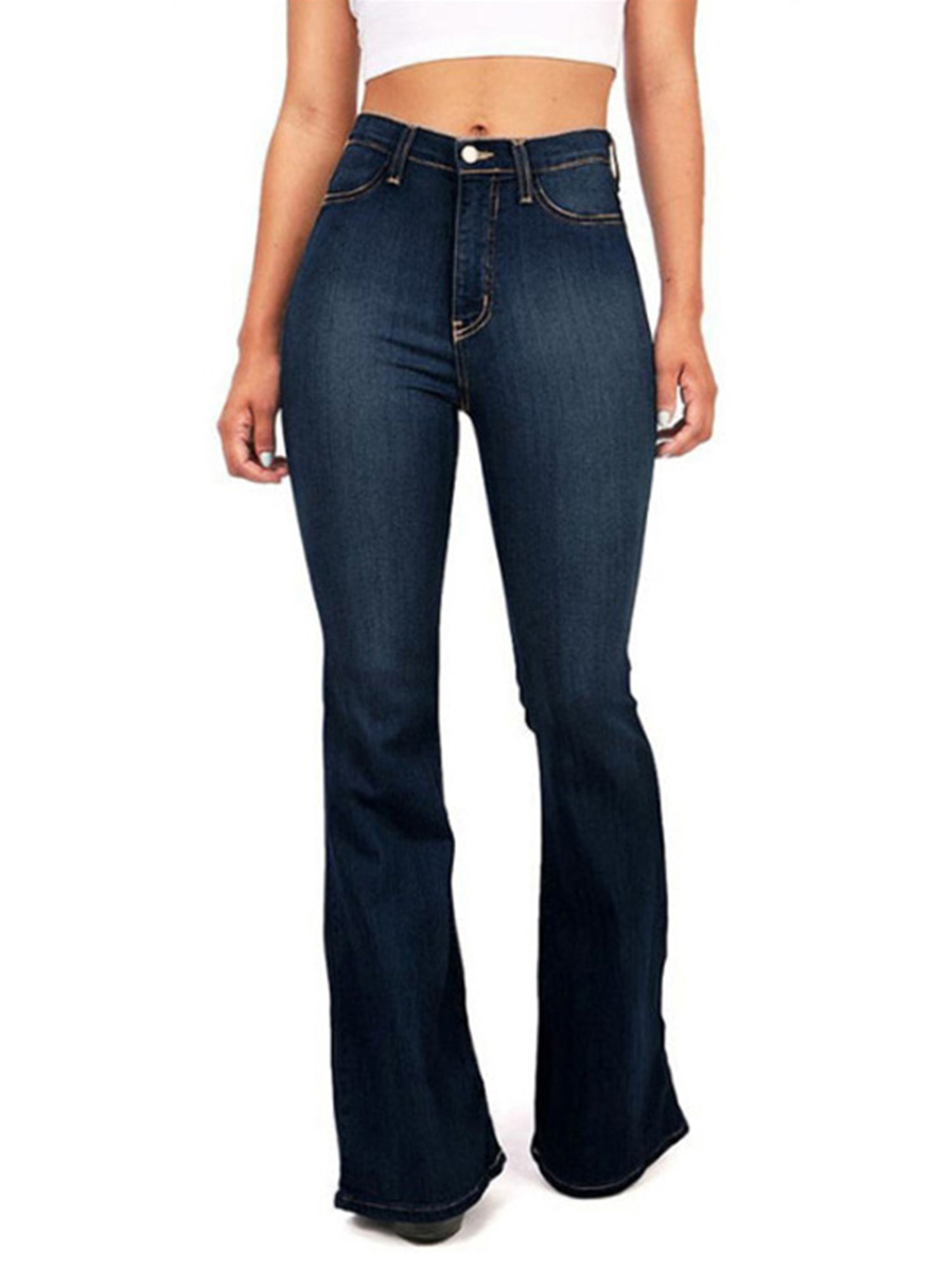 Womens Denim Jeans Ladies High Waisted Flared Bootcut Trousers Pants Size 8-18