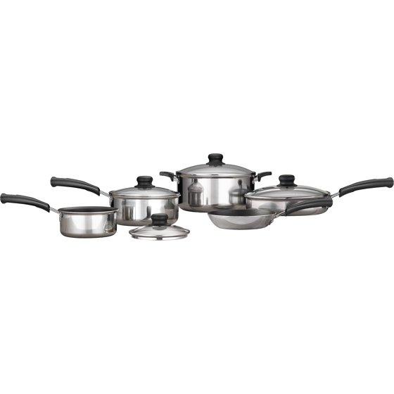 Mainstays 9-Piece Nonstick Cookware Set, Polished Aluminum