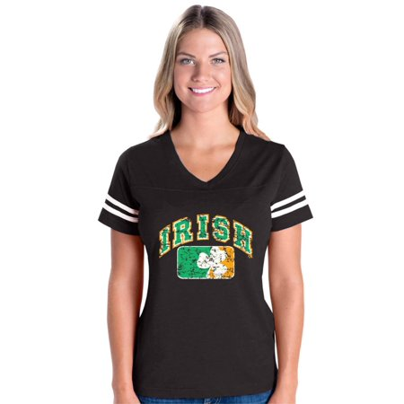 Vintage Irish Flag Shamrock St. Patricks Day Women's Football V-Neck Fine Jersey (Vintage Football Jersey)