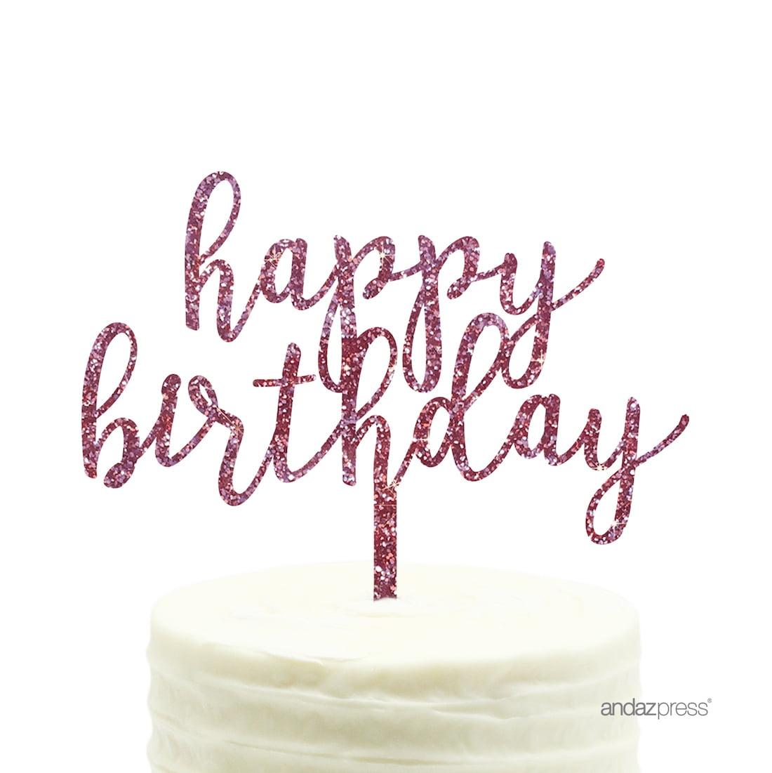 Pink Glitter Happy Birthday Acrylic Cake Topper