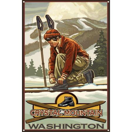 Crystal Mountain Washington Classic Ski Bindings Metal Art Print by Paul A. Lanquist (12
