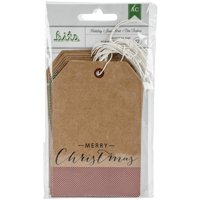 "American Crafts Holiday Tags 12/pkg-4.25""x2.875"" Kraft W/gold Foil"