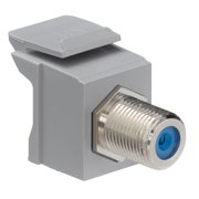 Leviton Feedthrough QuickPort F-Connector, Nickel Plated, Grey Housing, Nickel or gold-plated female-to-female 75  connector featur (41084-FGF)