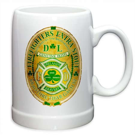 German Beer Stein – Firefighter Gifts for Men or Women – Irelands Bravest Stoneware Beer Stein – Firefighters Beer Glasses with Logo - Set of 6 (20 Ounces) - Irish Beer Stein