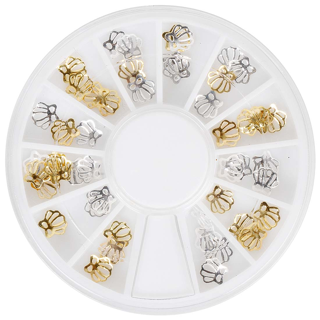BMC 36pc Pretty Gold and Silver Metal Cutout Scalloped Shells Nail Polish Art Accessory Charm Set