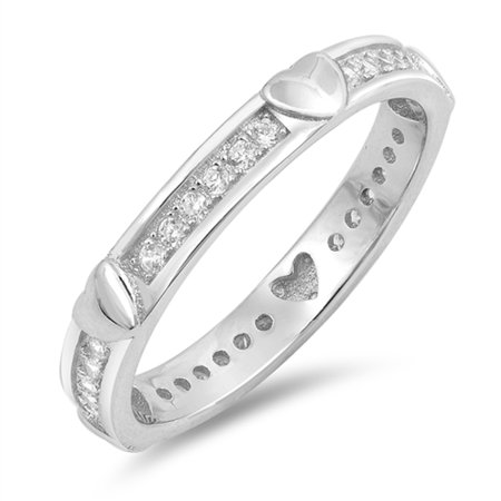 - Clear CZ Heart Eternity Love Thumb Ring New .925 Sterling Silver Band Rings by Sac Silver (Size 5)
