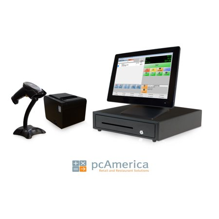 Retail Point of Sale System - includes Touchscreen PC, POS Software (CRE), Receipt Printer, Scanner, Cash Drawer, Credit Card Swipe Reader, and LCD Rear