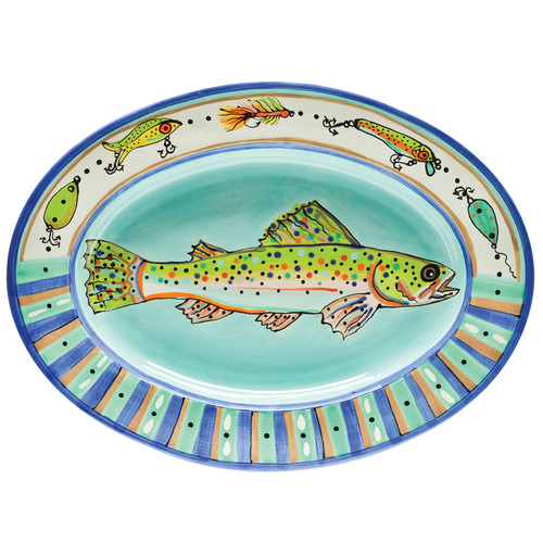 Thompson and Elm Dana Wittmann Fins Trout Handpainted Ceramic Oval Platter