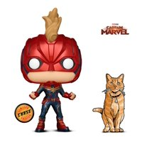Warp Gadgets Bundle - Funko Pop Marvel Captain Marvel Masked Chase and Figpin Mini - Captain Marvel Goose The Cat - Collectible Enamel Pin (2 Items)