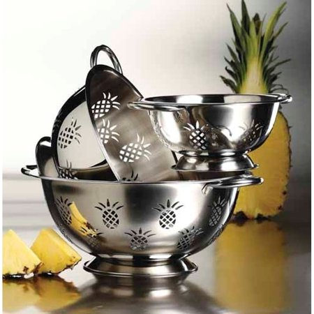 Imperial Home 3Pc High Quality Pineapple Stainless Steel Deep Colanders / Strainers Set