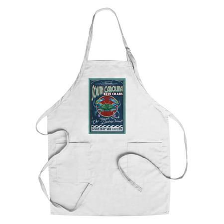 Pawleys Island, South Carolina - Blue Crabs Vintage Sign - Lantern Press Artwork (Cotton/Polyester Chef