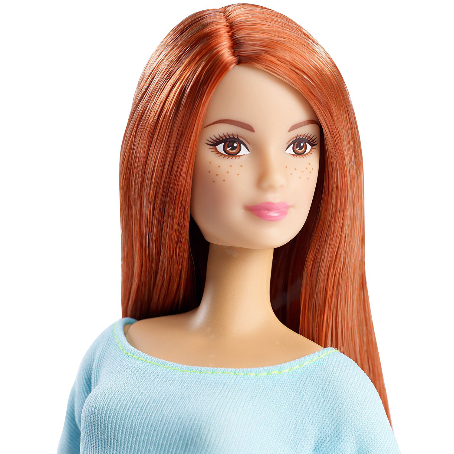 BLUE TOP Yoga DOLL Mattel Barbie Made To Move AUBRUN HAIR