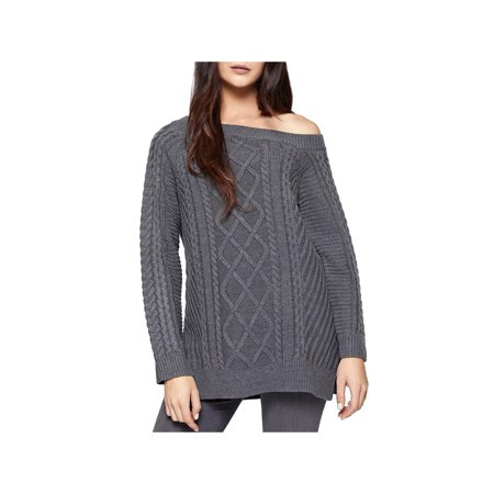 Sanctuary Womens Tinsley Cable Knit Off-the-Shoulder Pullover Sweater