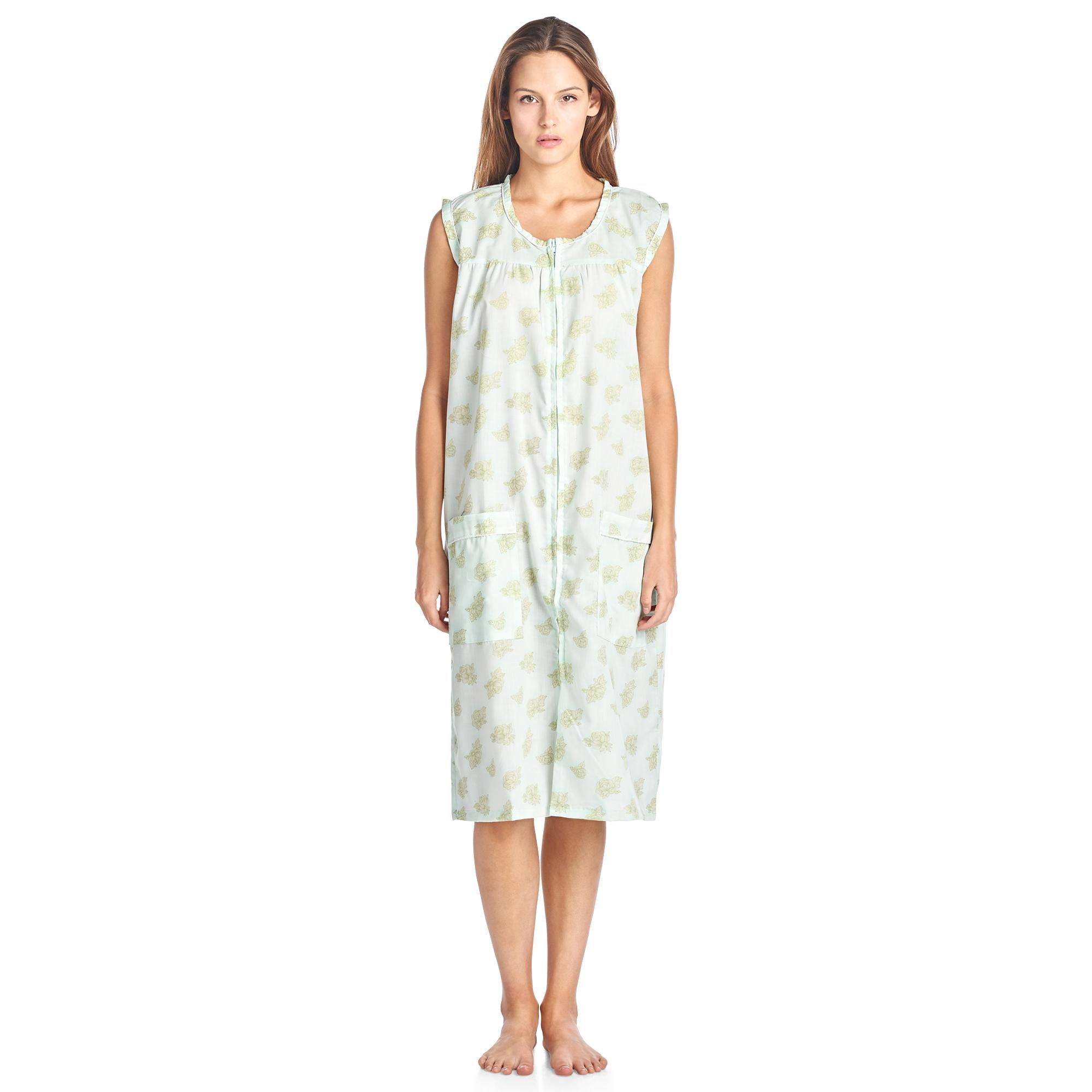Casual Nights Women's Zip Up Sleeveless Duster Robe - Mint