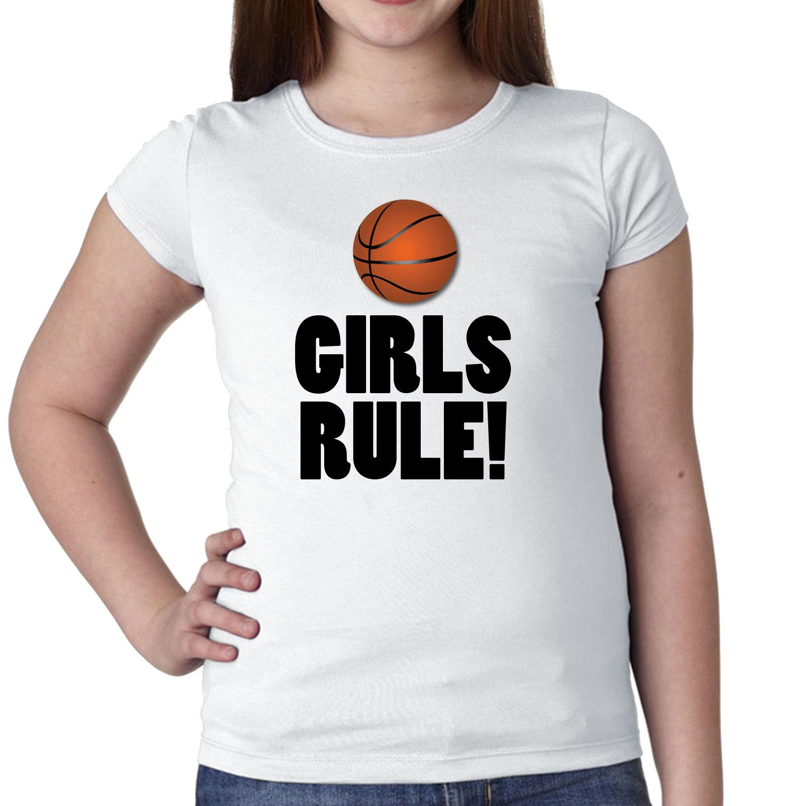 Girl's Basketball Team Rule Graphic Girl's Cotton Youth T-Shirt